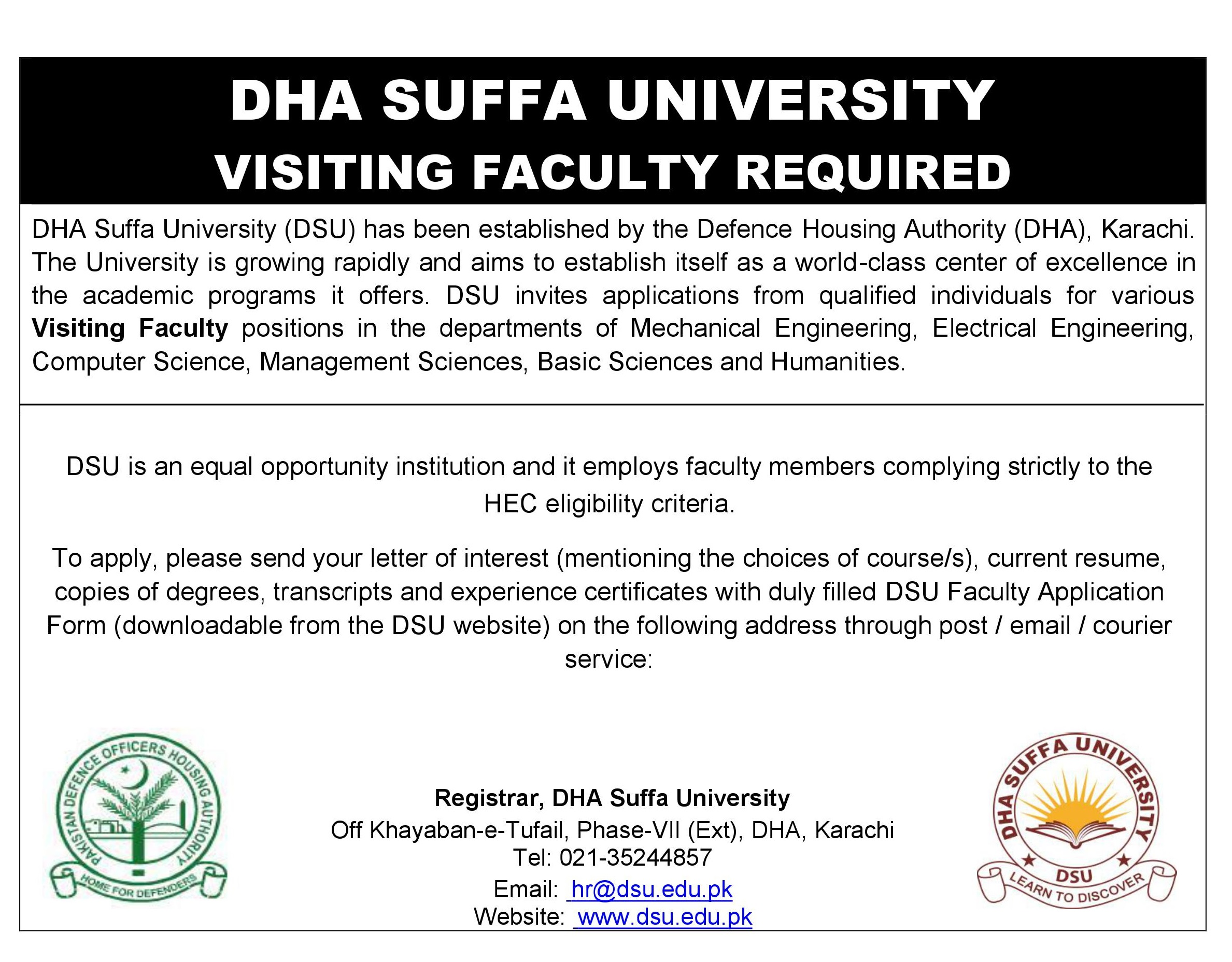 CAREERS – DHA Suffa University